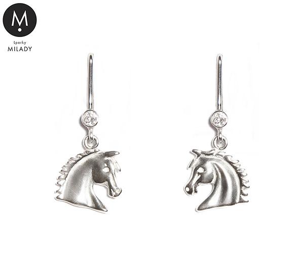 Náušnice koně Vivian a kámen zirkon - křišťálově bílé stříbro 925 1000 43cc5e3c696